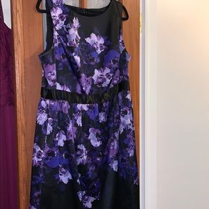 Adrianna Papell Purple Black Floral Short Dress